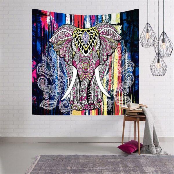 tapisserie murale suspendue motif paisley elephant