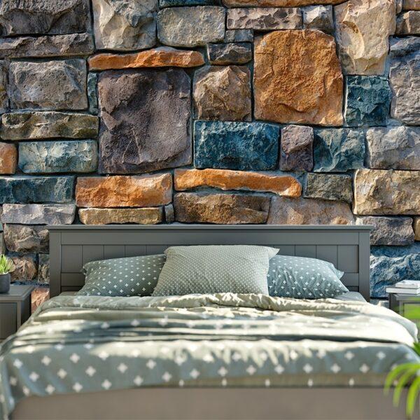 Tapisserie murale | Briques de pierre imprimées | Tenture Nature
