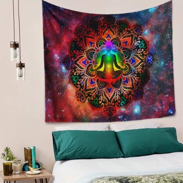 Tenture murale Mandala indien | tapisserie Chakra