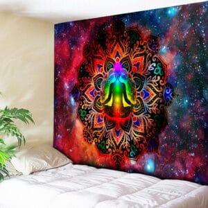 Tenture murale Mandala indien | Décor de galaxie nuit étoilée, tapisserie Chakra