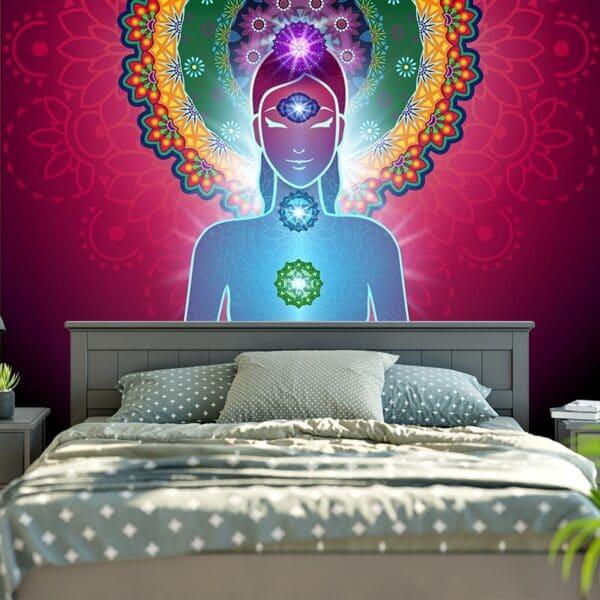 Mandala bouddha indien méditation 7 Chakra | Tapisserie suspendue
