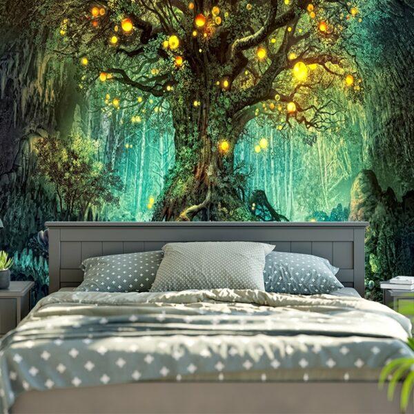 Tenture murale en forme d'arbres de vœux