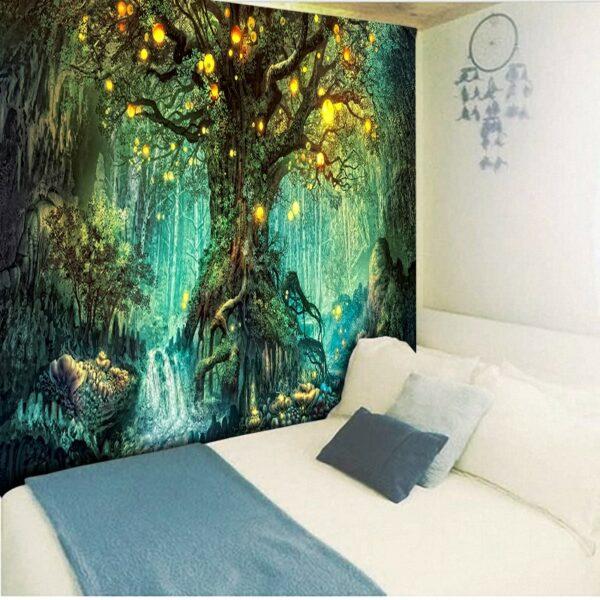 Tapisserie murale en forme d'arbres de vœux