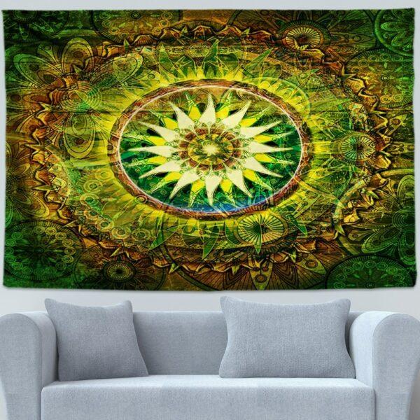 Tapis d'art mural suspendu de bohème, tapis décoratif de Yoga,