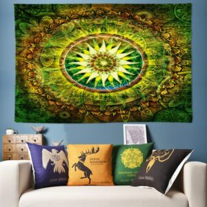 Tapis d'art mural suspendu de bohème, tapis décoratif de Yoga, tapisserie verte Vintage pour maison
