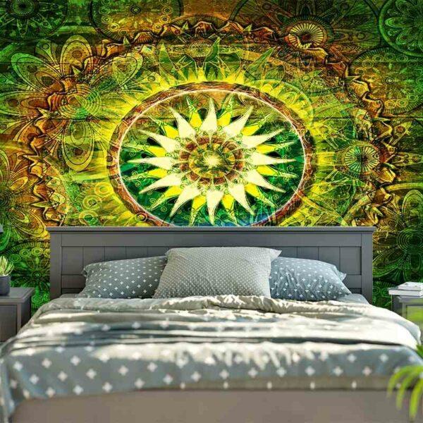 Tapis d'art mural suspendu de bohème, tapis décoratif de Yoga, tapisserie verte