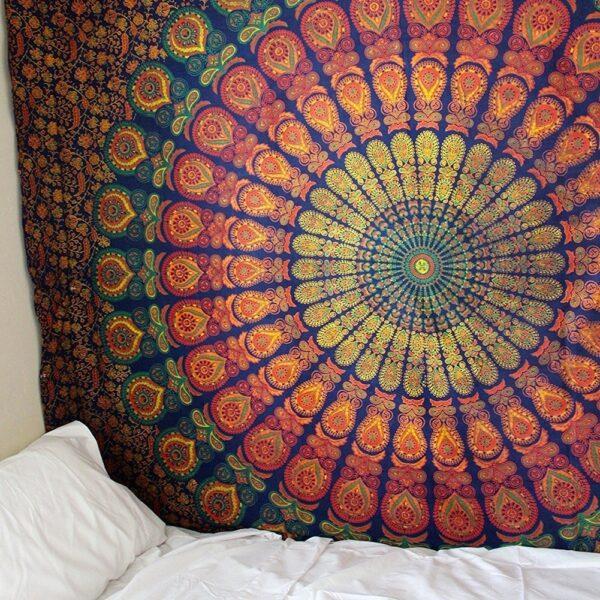 Grande tapisserie de Mandala indien 200x150cm | Tenture murale, tapis de plage, tapis de yoga