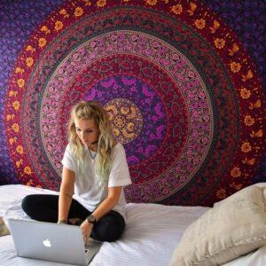 Tapisserie de Mandala murale | 200x140CM |Décoration de maison, yoga, nappe de table