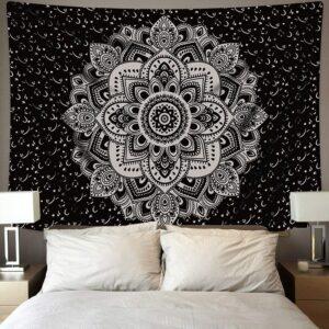Tenture Murale en forme de Mandala Noir et blanc | Décoration tapisserie sur le mur