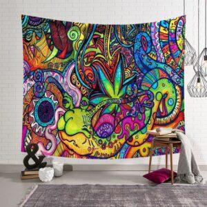 Tapisserie en Polyester Hippie à motif | Tapisserie, peinture abstraite, Art mural suspendu coloré