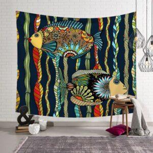 Décoration de maison, tapisserie| Poissons Hippie | Tenture murale
