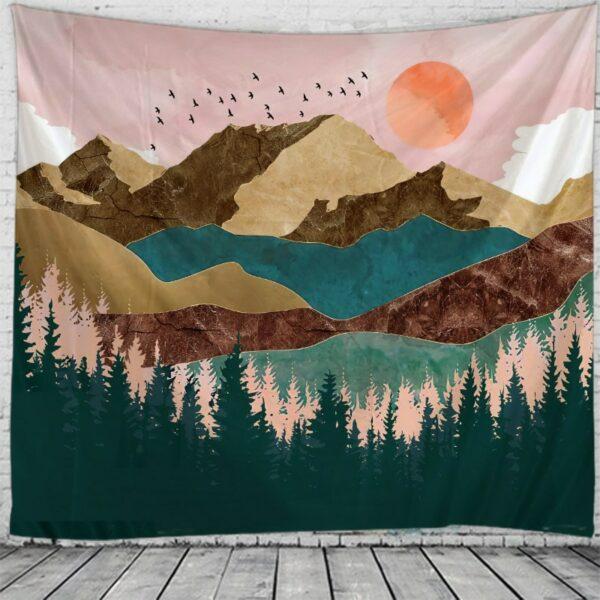 Tapisserie murale de montagne au coucher du soleil | Art de maison | Tenture murale