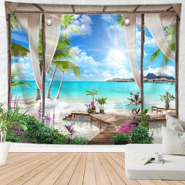 Tenture murale suspendue plage/mer   Tapis de palmier, motif fleur, couverture murale de plage