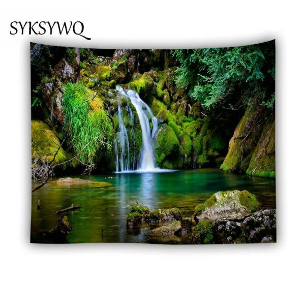 Tenture murale en cascade motif arbre vert
