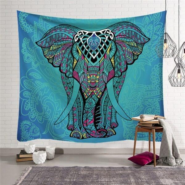 Tapisserie éléphant vert indien | imprimé coloré pour décoration de maison