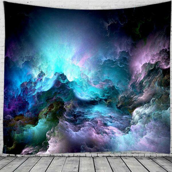 Tenture Murale psychédélique motif nuageux coloré