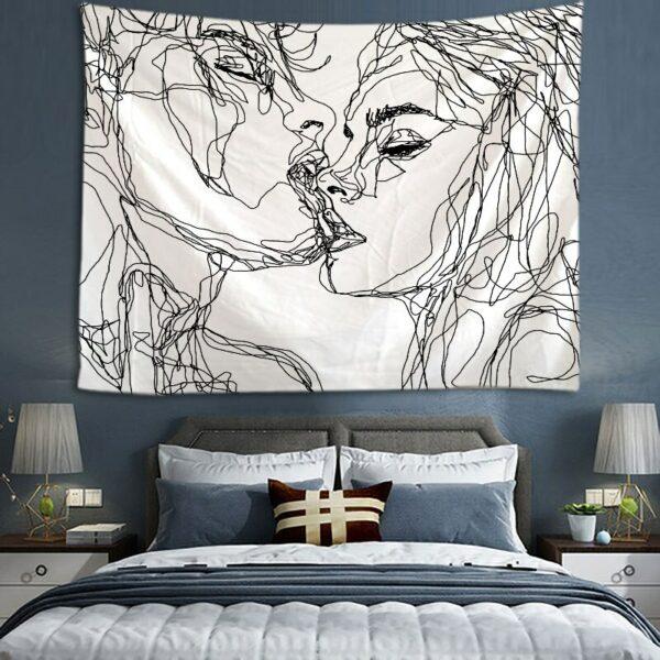Tenture Murale Simple amour tapisserie noir et blanc, amants
