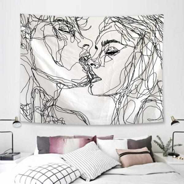 Tenture Murale Simple amour tapisserie noir et blanc