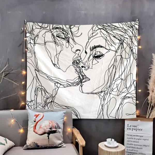 Tenture Murale Simple amour tapisserie noir et blanc, amant tenture murale