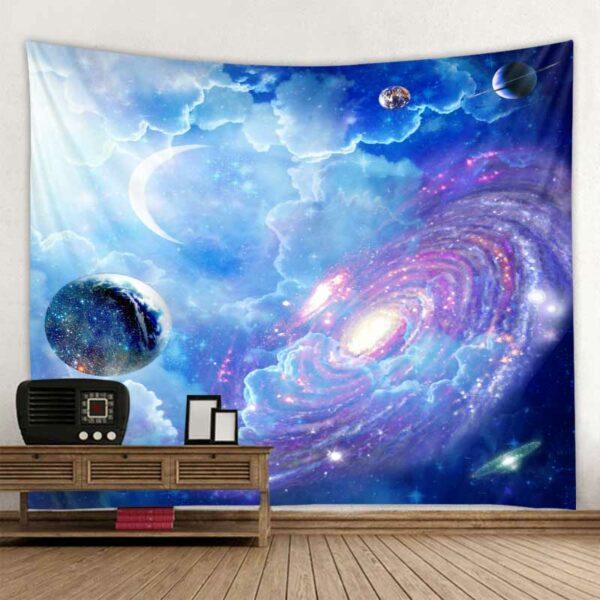 Tenture murale de Mandala indien à ciel étoilé