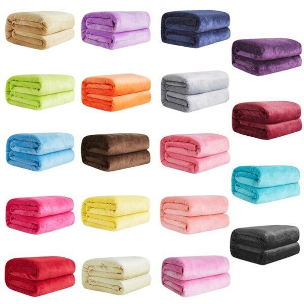 Plaid, couvre lit Doux Chaud Corail Polaire Flanelle Couvertures Pour Lits Fausse Fourrure Vison differentes couleurs