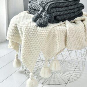 Plaid/Couvre lit/Couverture Beige gris café pour lit, canapé, tricotée