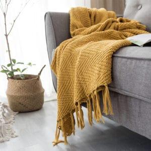 Couverture de canapé en tricot à franges | Jaune moutarde | canapé-lit de la maison