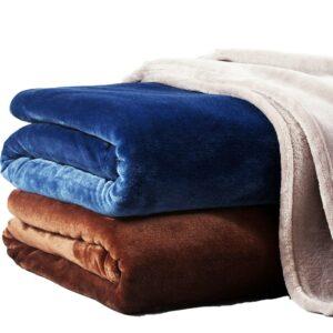 Plaid/couvre lit/couverture moelleuse douce en microfibre | Couverture couleur unie, lavable