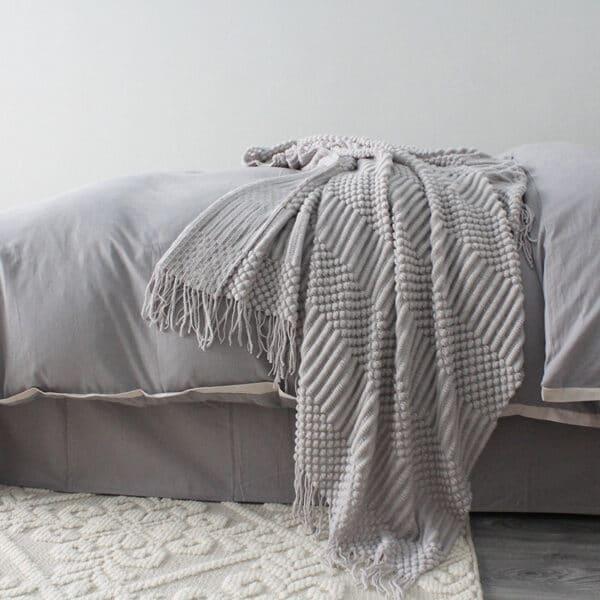 Plaid ou Couverture de sieste couleur unie nordique   Plaid en tricot, confortables et chaudes