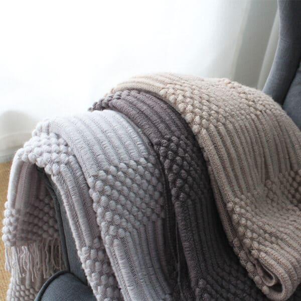 Plaid ou Couverture de sieste couleur unie nordique   Plaid en tricot, confortables et chaudes pour lits,