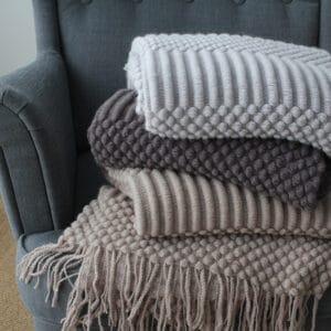 Plaid ou Couverture de sieste couleur unie nordique | Plaid en tricot, confortables et chaudes pour lits, canapé...