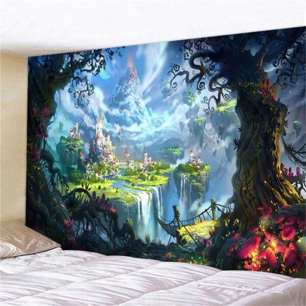 tenture murale magique chateau foret