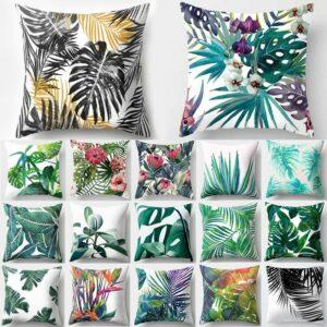 Housse de coussin Polyester Feuille tropicale, décor coussins canapé