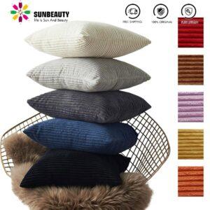 Housse de coussin en velours Striée, couleur uni, décor canapé