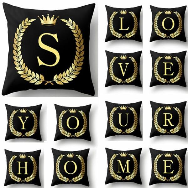 Housse de coussin décoratifs pour canapé 45*45cm noir et or lettres de l'Alphabet