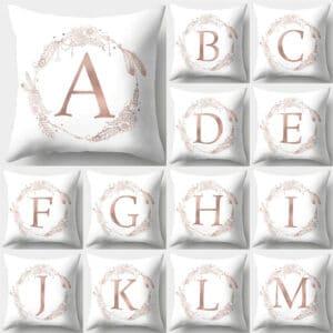 Housse de coussin décoratifs pour canapé 45*45cm rose et or lettres de l'Alphabet