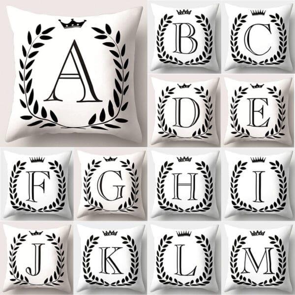 Housse de coussin décoratifs pour canapé 45*45cm noir et blanc lettres de l'Alphabet