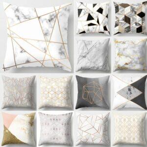 Housse de coussin motif marbre géométrique, canapé, décoratif Taille 45x45
