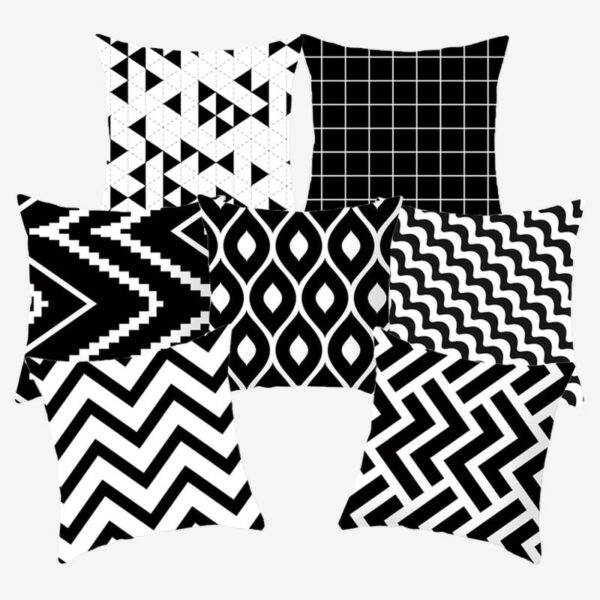 Housse de coussin Noir et blanc décoratif géométrique, Polyester 45*45