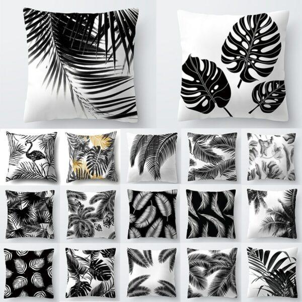 Décoration nordique pour la maison | Housse de coussin, motif Tropical, plantes blanches et noires, feuilles