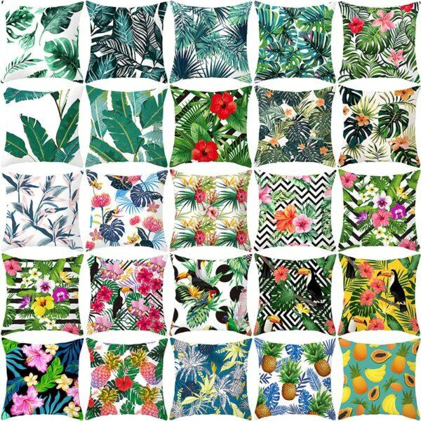 Housse de Coussin de plante verte en Polyester décoration tropicale pour le Sofa/Le Salon