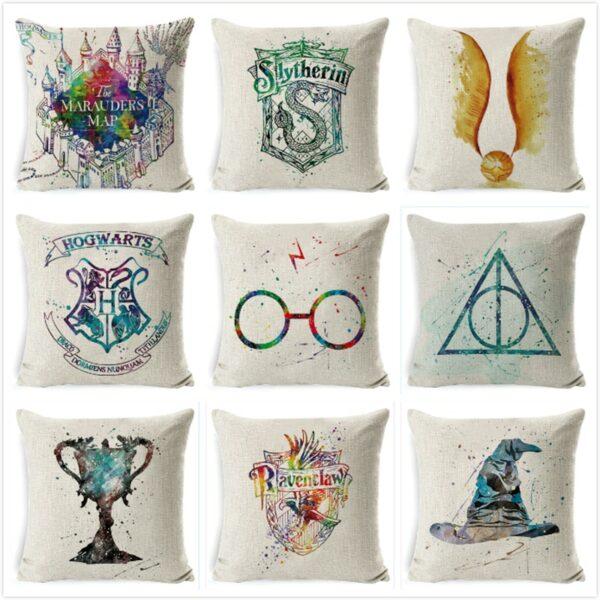 Housse de coussin coton Harry-Potter | gobelet de feu les reliques de la mort