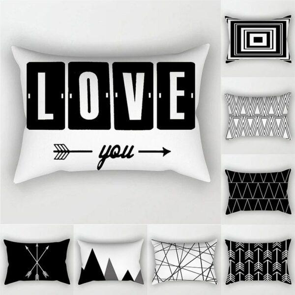 Noir blanc Amour et géométrique housse de coussin Polyester taie d'oreiller décorative 30x50 Style nordique