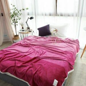 Plaid coloré avec bord blanc | Couvre-Lit Rose