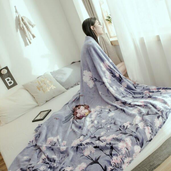 Couvre-lit florale | Plaid pour lit, canapé, voiture, hiver