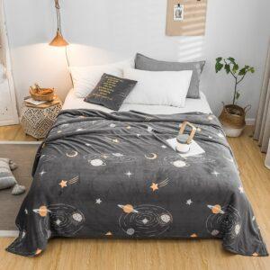 Plaid de lit Espace | Voie lactée avec planète | Couverture