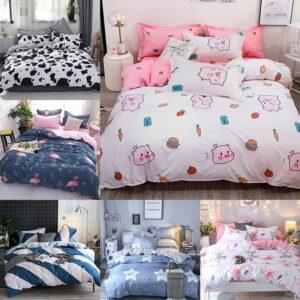 Parure de lit en cochon de dessin animé | Ensembles de literie de luxe pour filles/garçons, housse de lit rose